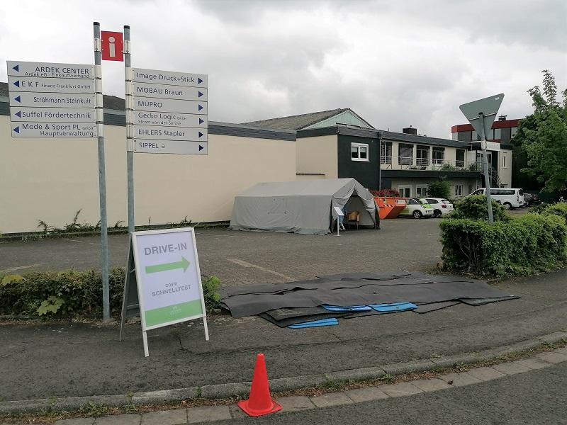 Corona-Test-Center im Gewerbegebiet Wallau