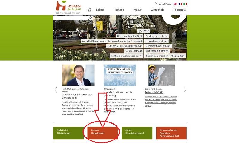 Auf der Hofheimer Webseite findet man den Mängelmelder.